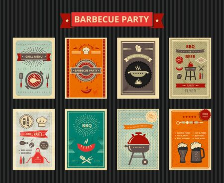 Set of brochure for  barbecue party.