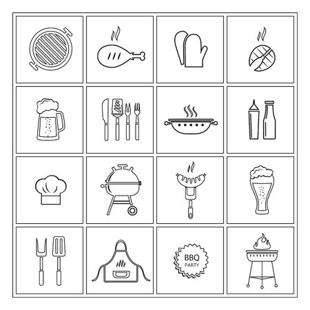Barbecue icons contour.