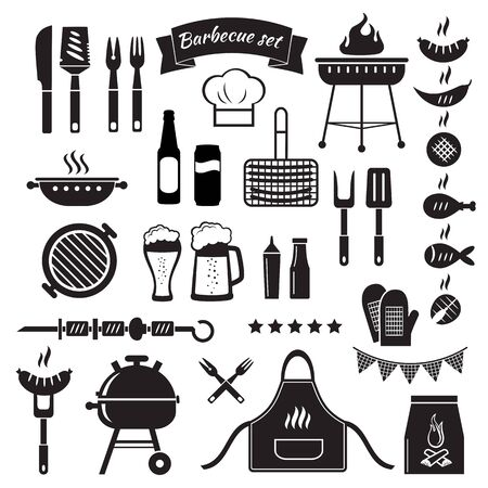 Barbecue black objects isolated on white illustration. Illustration