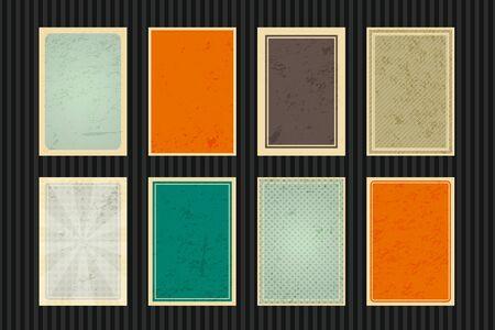Set of empty retro cards. Illustration