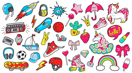 Big set of girls and boys colored patches on white illustration.