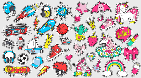 Big set of girls and boys colored stickers.