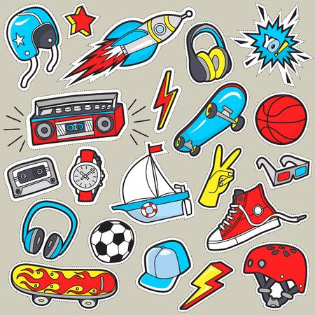 Boys sticker patches. Illustration