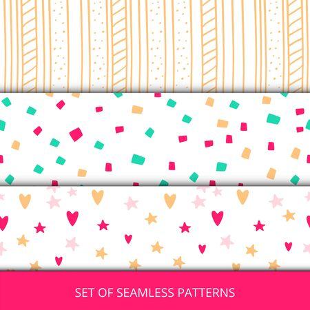 Set of seasmless girls pattern .Vector