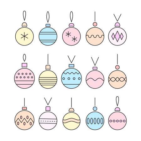 Line art christmas ball . Vector. Illustration