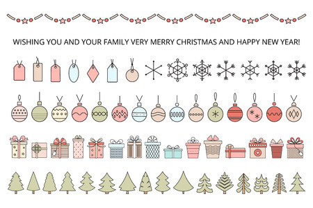 Set of line art objects for your christmas design . Vector .