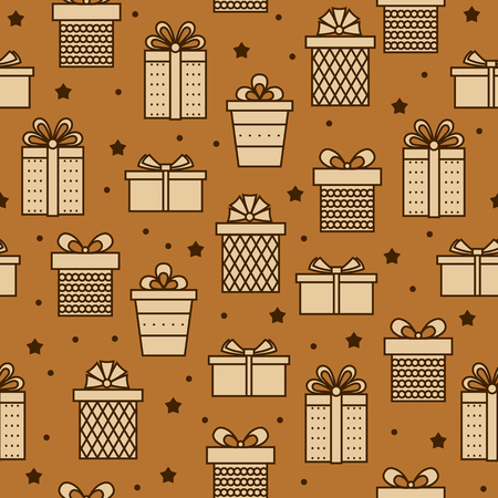 Seamless pattern with gifts .Vector