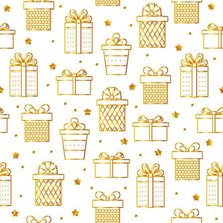 Seamless golden line art gifts pattern . Vector . Illustration