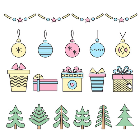 Set of line art christmas symbols . Trees , balls , snowflakes and gifts on white . Vector .