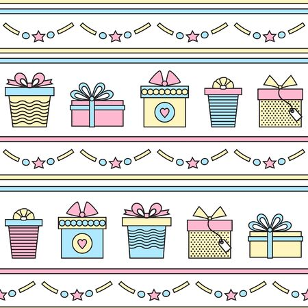 Seamless pattern with gifts  . Vector line art .