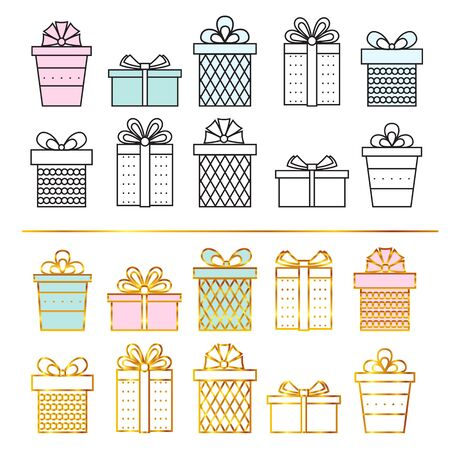 Line art gifts . Vector . Illustration
