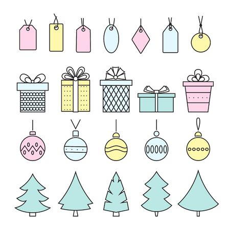 Line art  style christmas symbols . Trees , balls , snowflakes and gifts on white . Vector .