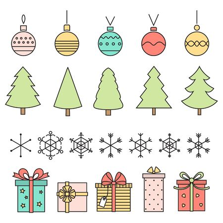 Line art christmas symbols . Trees , balls , snowflakes and gifts on white . Vector .