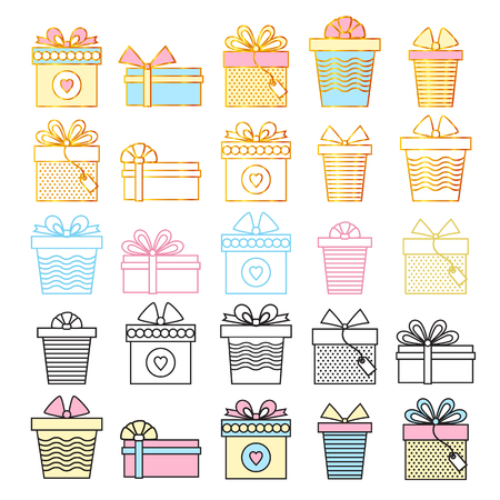 Set of gifts. Vector line art style.