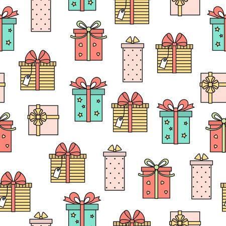 Seamless pattern with cute gifts . Vector line art background . Illustration