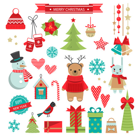 Set of christmas flat design objects . Vector