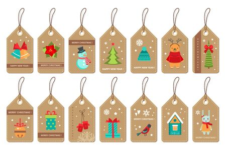 Set of christmas paper labels . Flat style vector .