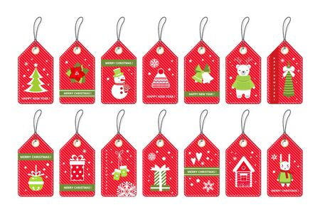 Set of Merry Christmas gift red tags with party items . Vector paper labels . Flat style . Stock Photo