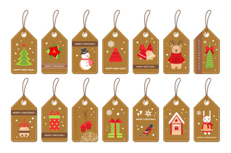 Set of paper christmas labels with flat style holydays elements . Vector .