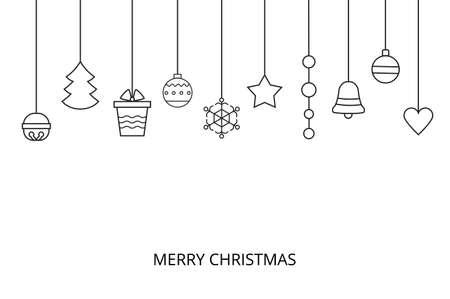 Line art christmas vector card .