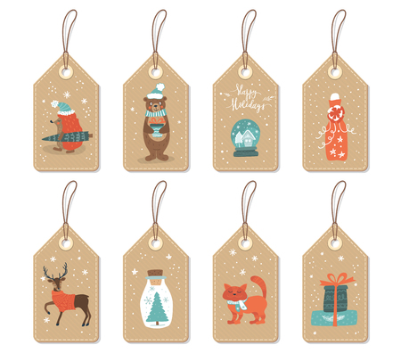 Tags with cute Christmas animals and things.Vector set . Illustration