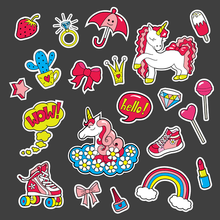 A set of stickers for girls by interests . Vector