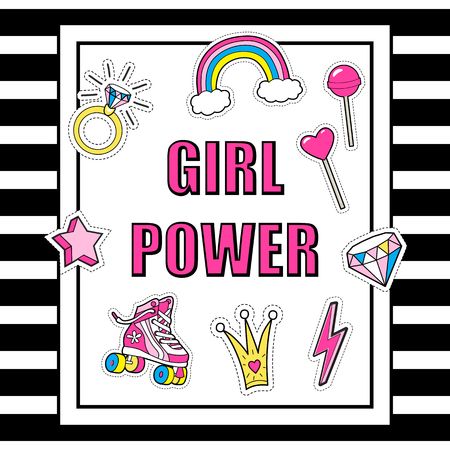 Vector poster Girl Power with girls cute  stickers . Illustration