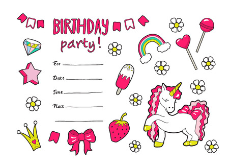 Cute vector girls birthday party invitation with styickers .