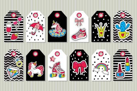 Set of girls tags with cute stickers . Vector patches