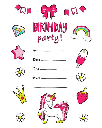 Girls party invitation with cute stickers . Vector .