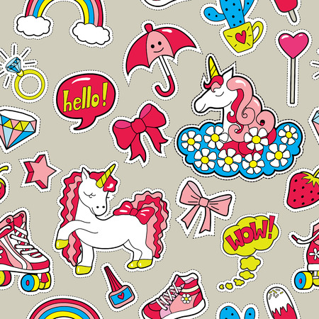 Seamless pattern with patches for girls interests . Vector back