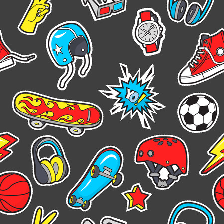 Seamless pattern with patches for boys interests . Vector backg