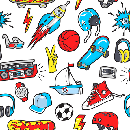 Vector seamless pattern with patches for boys interests on white background.