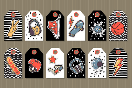 Vector set of  tags with cute stickers for boys on color background. 矢量图像