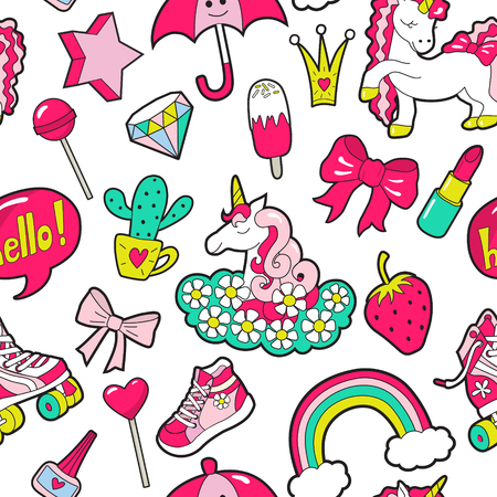 Vector girls seamless pattern with stickers on white 矢量图像