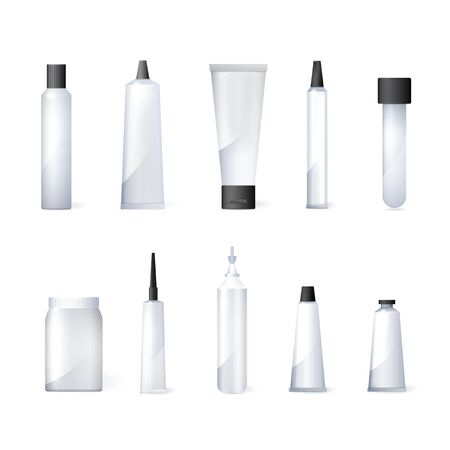 Vector set of medical packaging plastic containers .