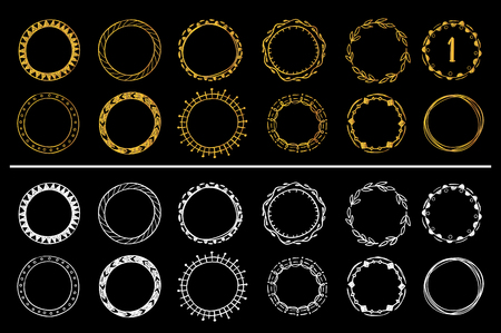 Collection of golden and white hand drawn round frames vector set.