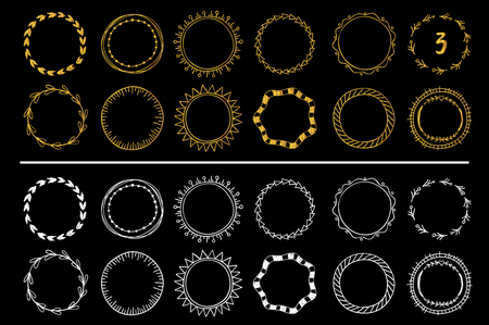 Collection of golden and white hand drawn round frames . Vector set 3 矢量图像