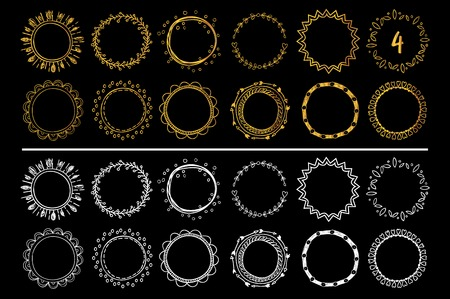 Collection of golden and white hand drawn round frames . Vector set 4