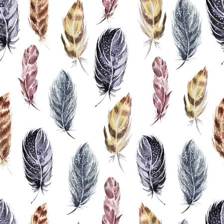 Decorative seamless pattern with feathers . Watercolor background .