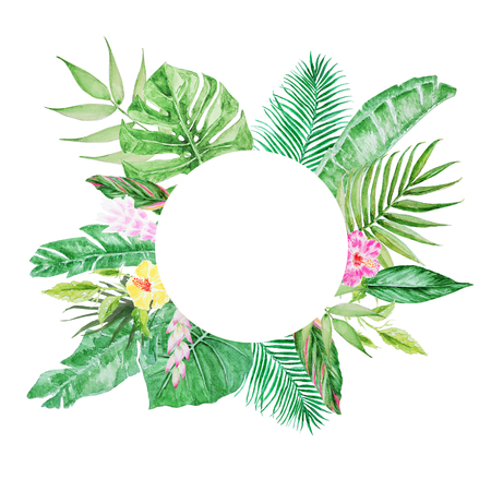 Palm tree leaves round frame. Watercolor  colorful concept of the jungle for the design of invitations, greeting cards and wallpapers.