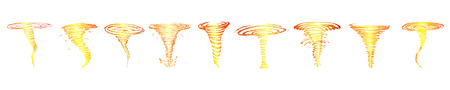 Set of fiery tornadoes sketches . Vector 矢量图像