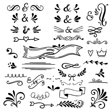 Floral and graphic  design elements with ampersands.Vector set 矢量图像