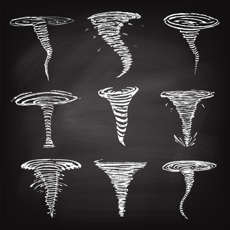 Set of tornado icons line sketch on chalk background. Vector