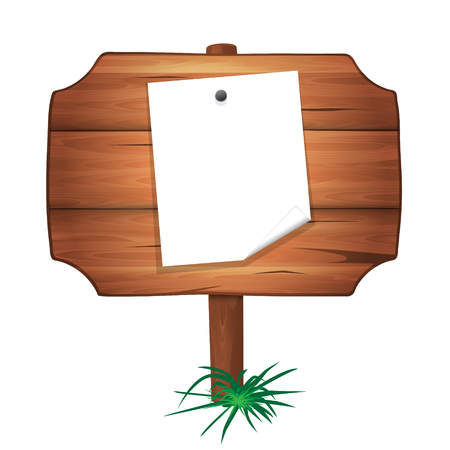Wooden plaque with a sheet of paper on a nail. Vector cartoon illustration