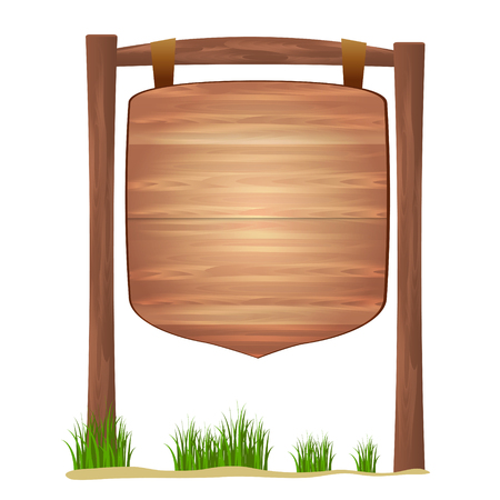 Wooden sign standing in grass  isolated on white background vect