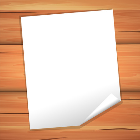 White paper blank sheet on a wooden texture. Vector