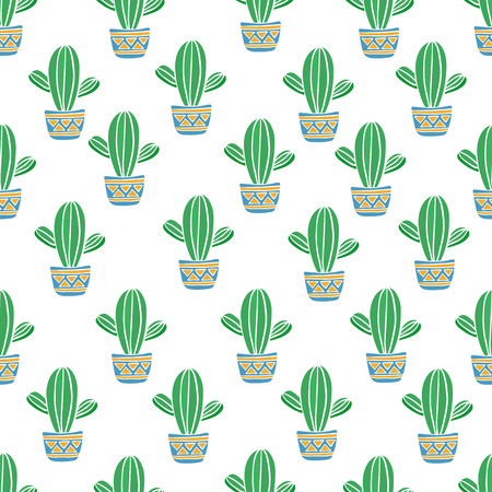 Cacti pattern . Cute seamless background .