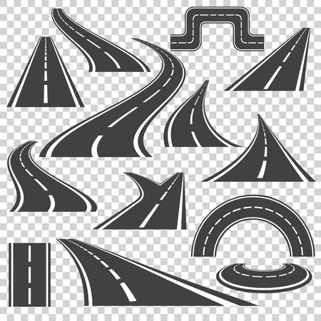 Asphalt logo set in grey colors with  isolated curvy  roads  and fork turns .Different perspective  on a transparent background. Vector way illustration icons. 矢量图像