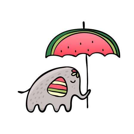 Funny elephant with watermelon umbrella.Vector doodle illustration.